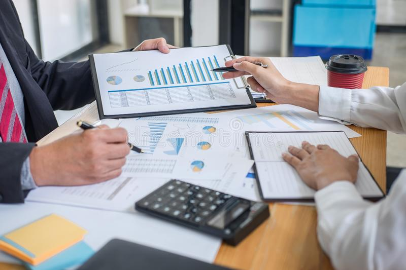 Partner meeting of business team colleagues consultation and discussion marketing plan meeting concept on financial report and royalty free stock image