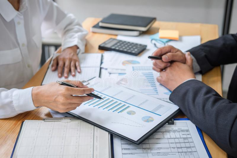 Partner meeting of business team colleagues consultation and discussion marketing plan meeting concept on financial report and royalty free stock images