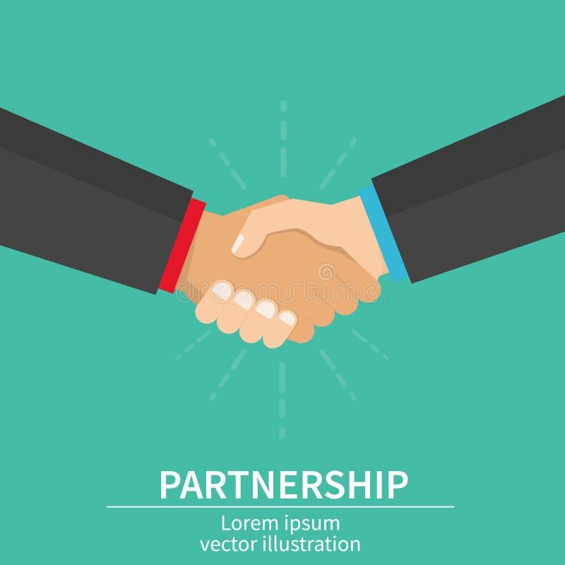 Partnerhanddruk van partners Succesovereenkomst, gelukkig vennootschap, toevallige handenschuddenovereenkomst vlak vector illustratie