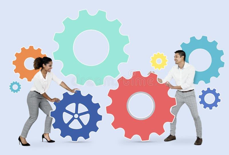 Partners die door toestellen verbinden royalty-vrije stock afbeelding
