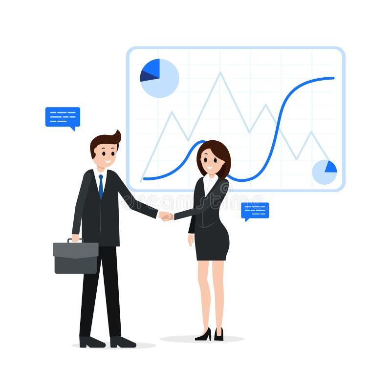 Partners die handen schudden stock illustratie