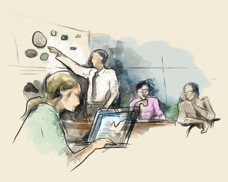 Partners die ideeën bespreken op vergadering in bureau terwijl het openen van laptop de kleur van het de tekeningswater van de sc stock illustratie