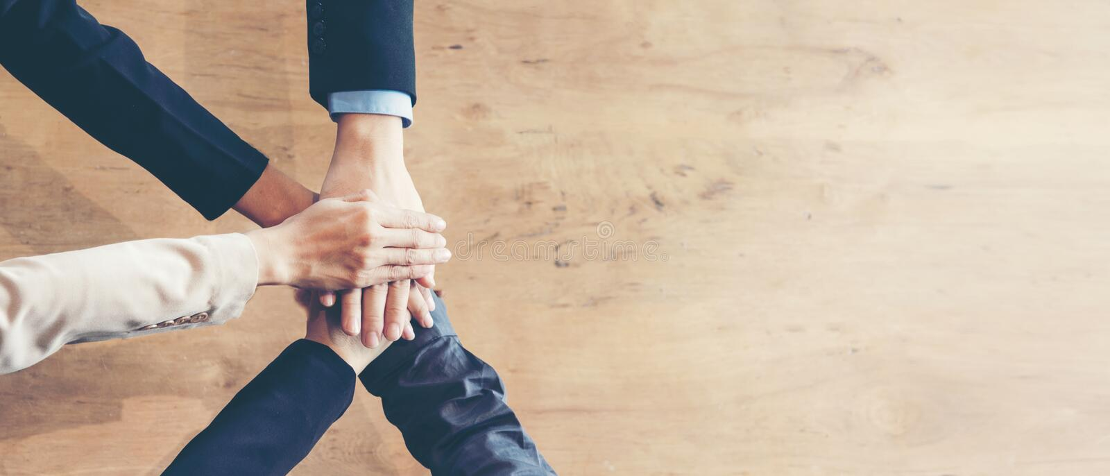 Partners Team work joining hands to success together. Business Team stack of hands for star up project, copy space for text banner. Team work Concept royalty free stock image