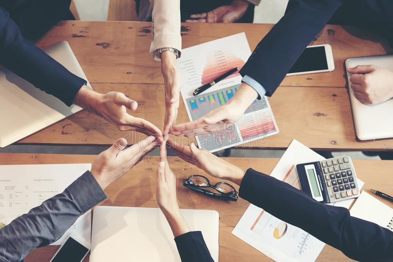 Partners Team work joining hands to success together. Business Team stack of hands for star up project royalty free stock photography