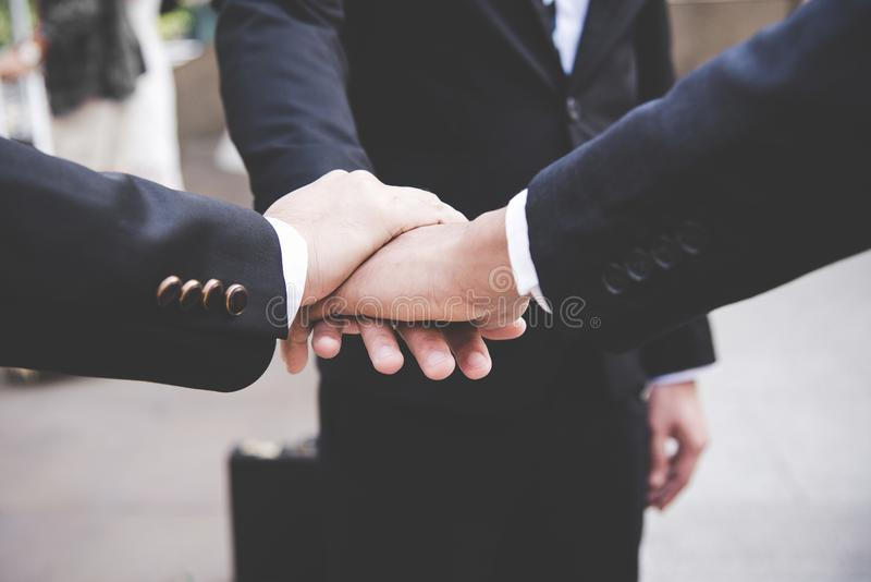Partners Team work joining hands to success together. royalty free stock photos