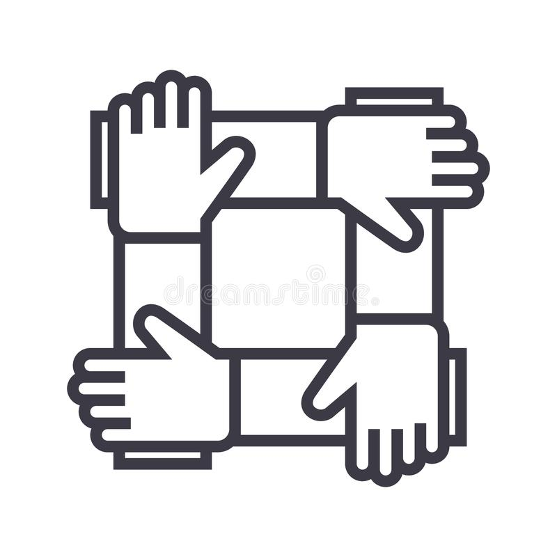 Partnerschaft, Zusammenarbeit, Hilfsvektorlinie Ikone, Zeichen, Illustration auf Hintergrund, editable Anschläge vektor abbildung