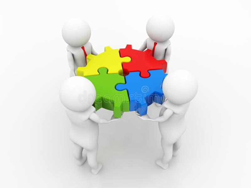 Partnerschafts-, Teamarbeit, Geschäftsleute, Geschäftsperson und Stücke des Puzzlespiels teamwork 3d übertragen lizenzfreie abbildung