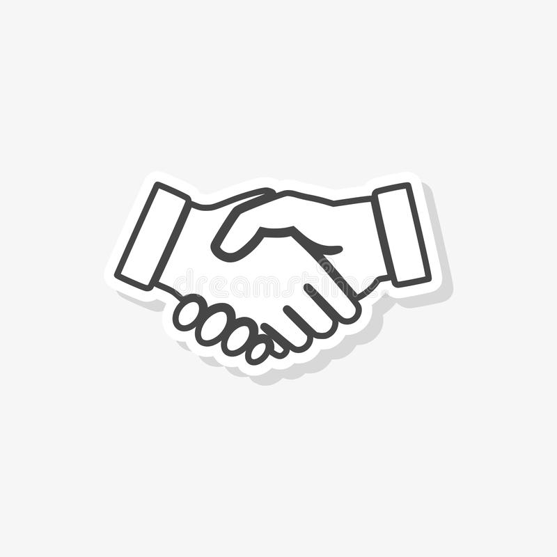 Partnerschaftsaufkleber, Händedruck, einfache Vektorikone stock abbildung
