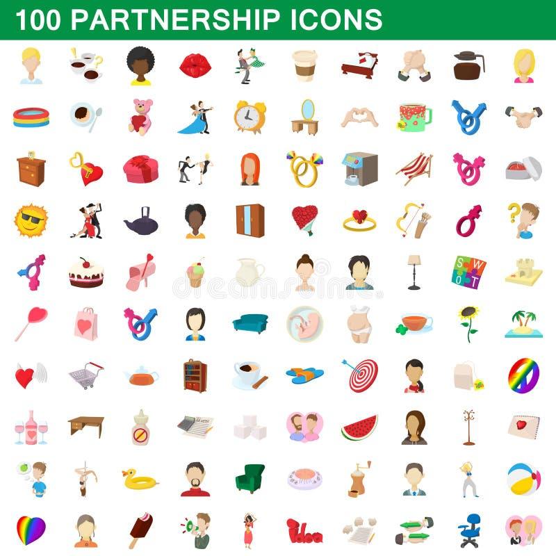 100 Partnerschaftsikonen eingestellt, Karikaturart stock abbildung