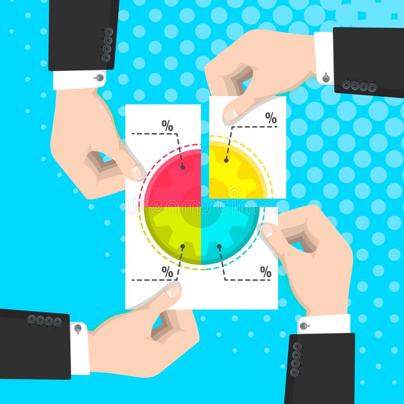 Partnership in business, business people holding hands a piece of paper with a pie chart vector illustration