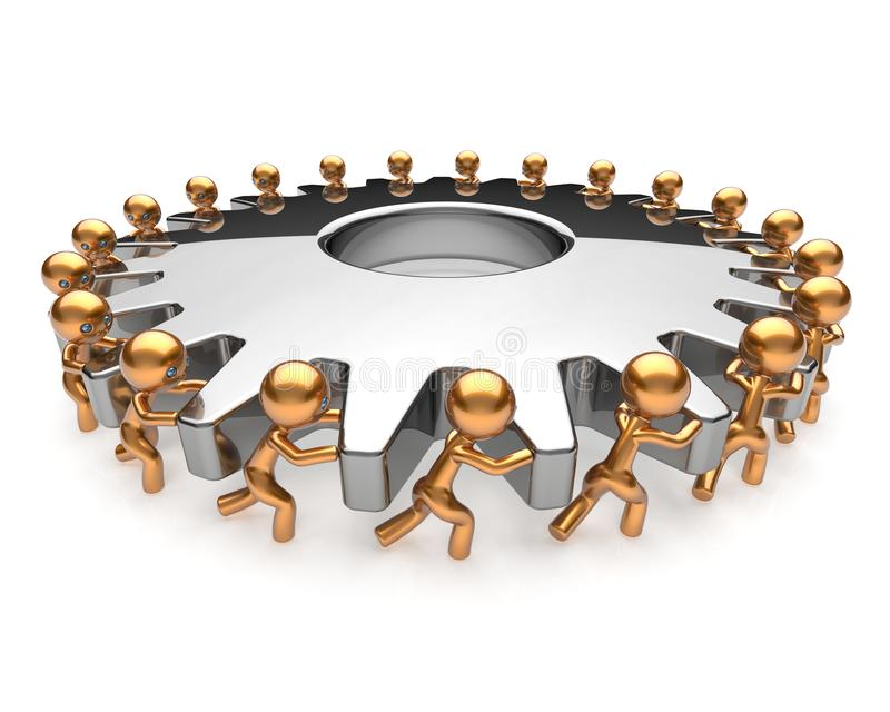 Partnership business process teamwork turning gearwheel. Action team work hard job men together. Brainstorming cooperation assistance activism community unity vector illustration