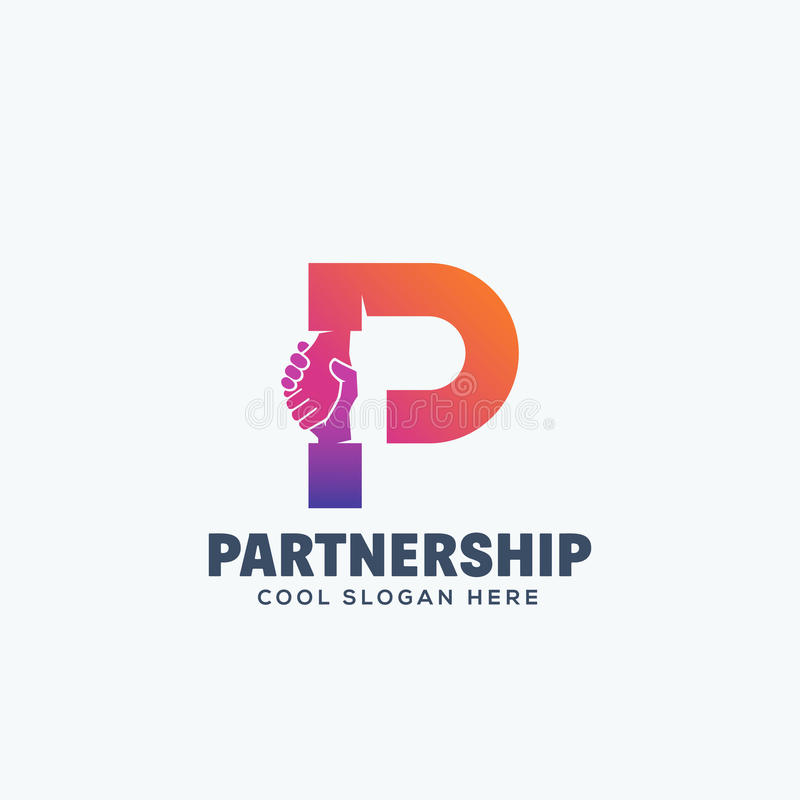 Partnership Concept. Hand Shake Incorporated in Letter P. Abstract Vector Emblem or Logo Template. Isolated stock illustration