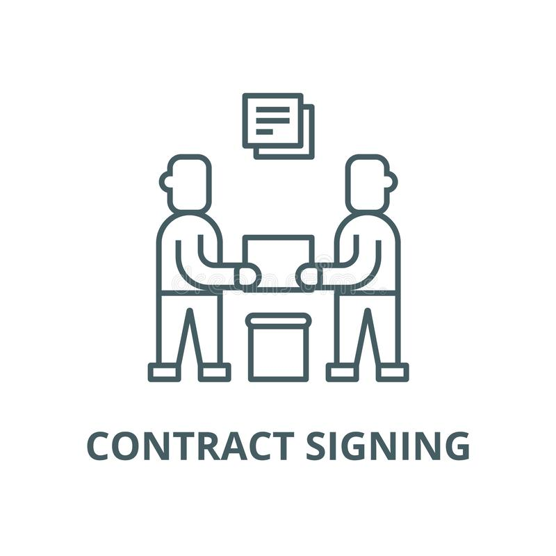 Partnership,contract signing vector line icon, linear concept, outline sign, symbol. Partnership,contract signing vector line icon, outline concept, linear sign vector illustration