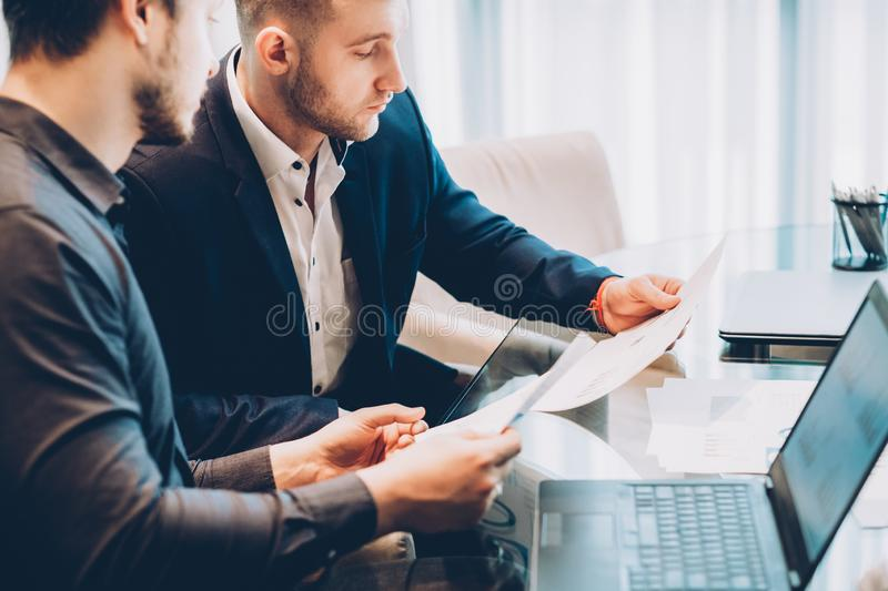 Partnership cooperation business men report royalty free stock image