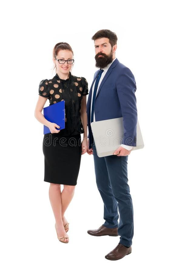 Partnership and cooperation. Consulting and promotion. Business consultation. Experienced financial expert with laptop. Man and women consulting business. B2B stock photo