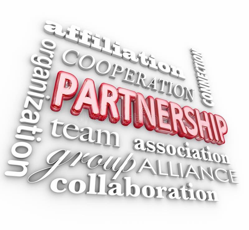 Partnership 3d Word Collage Team Association Alliance. Partnership 3d word collage background with affiliation, organization, cooperation, team, association stock illustration