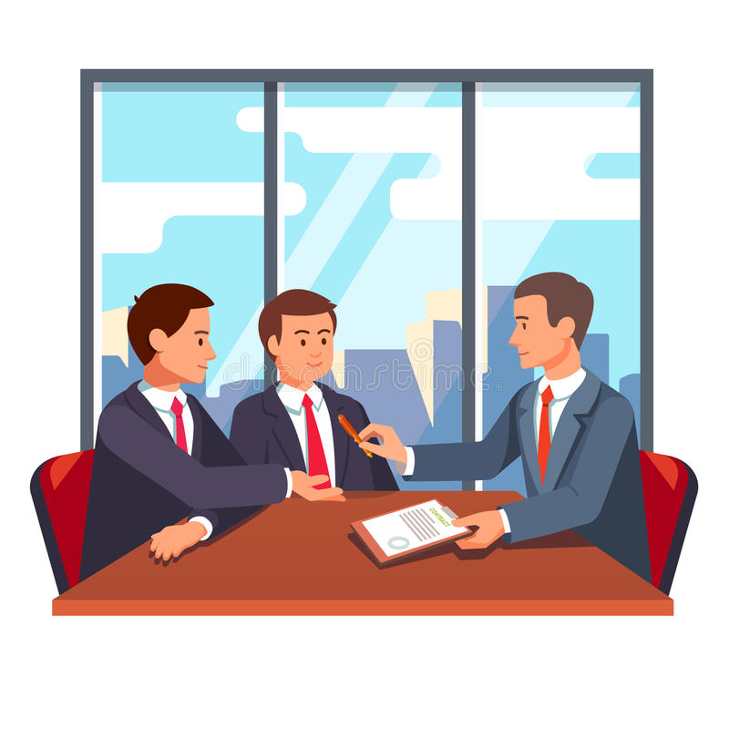 Partnership deal and closing negotiations. Business man or lawyer giving a pen and paper contract for signing to his future partners. Partnership deal and vector illustration