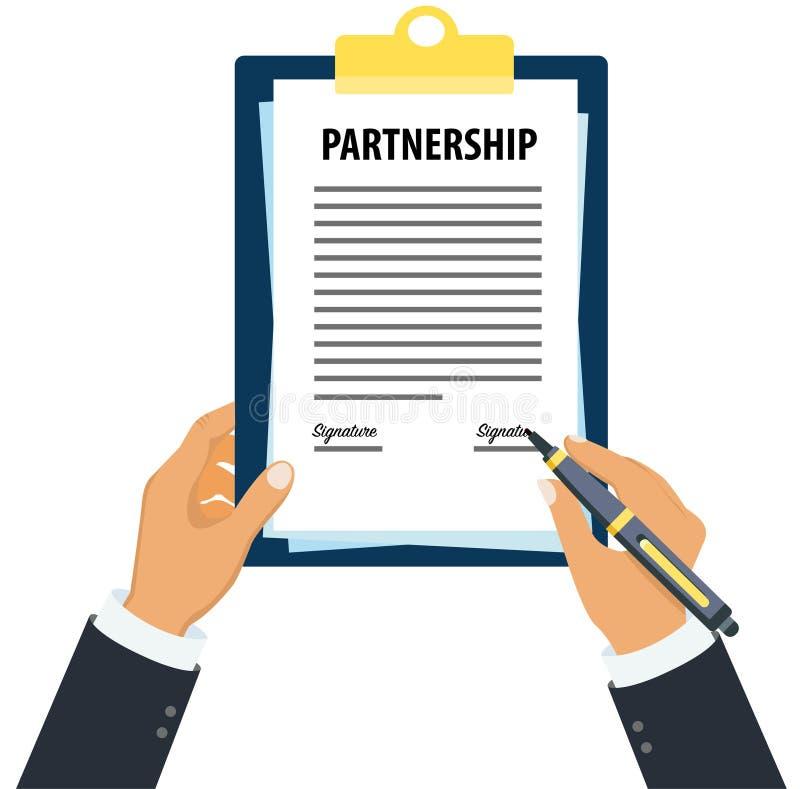 Signing partnership document. Partnership document in hand, Man holding partnership document, signing partnership document vector illustration