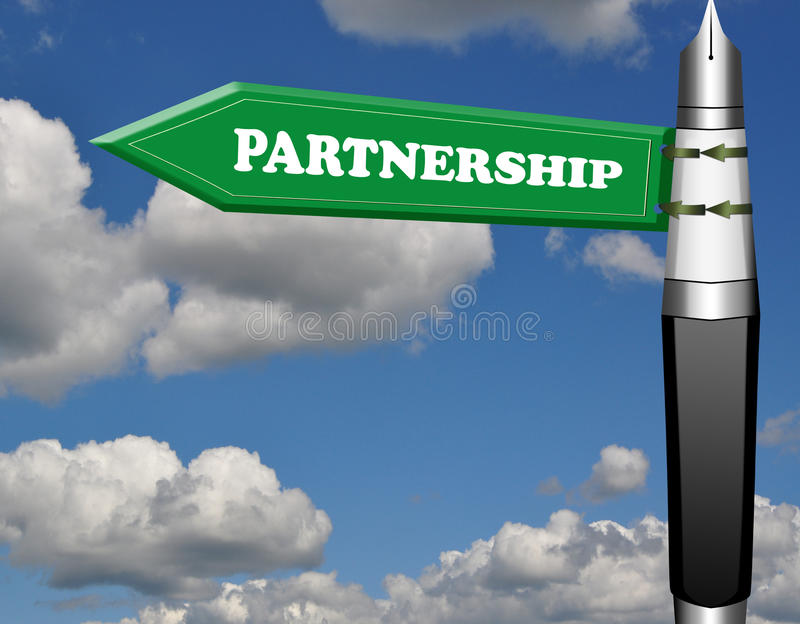Partnership fountain pen road sign. With cloud blue sky vector illustration