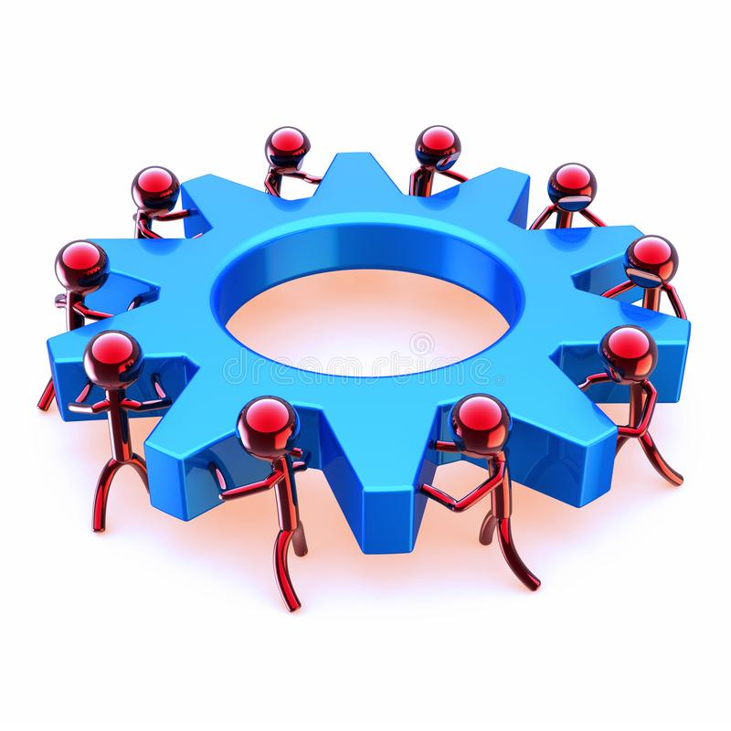 Partnership gear wheel team work, red men turning blue cogwheel. Partnership gearwheel, gear wheel team work, red men turning blue cogwheel. worker characters vector illustration