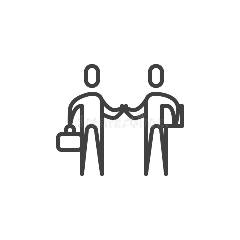 Partnership, handshake line icon. Linear style sign for mobile concept and web design. Men shaking hands outline vector icon. Business deal, agreement symbol stock illustration
