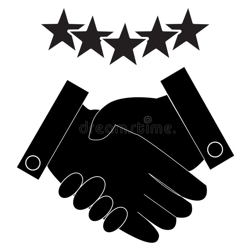 Partnership icon on white background. flat style. excellent quality performance handshake concept. Satisfaction for best service. vector illustration