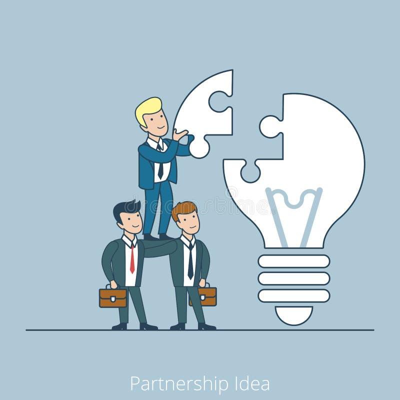 Partnership Idea team work Flat line art business. Partnership Idea men support pyramid. Linear teamwork flat line art style business people concept. Conceptual stock illustration