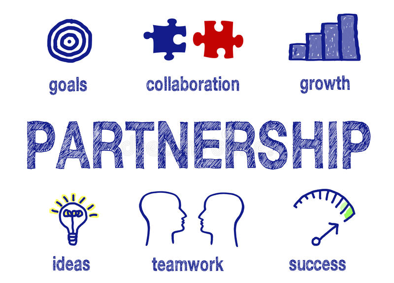 Partnership info graphic. Blue text and diagrams illustrating partnership in an info graphic on white background royalty free stock images