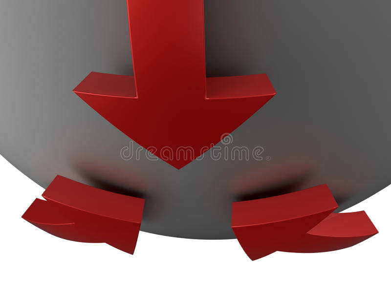 Partnership joining the team concept. 3D rendered illustration of partnership joining the team concept. Red 3D arrows with reflections are positioned on a stock illustration