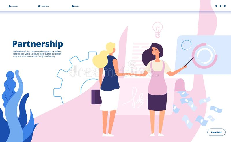 Partnership landing. Corporate plan partnership leader companies business agreement strategy startup cooperation vector stock illustration