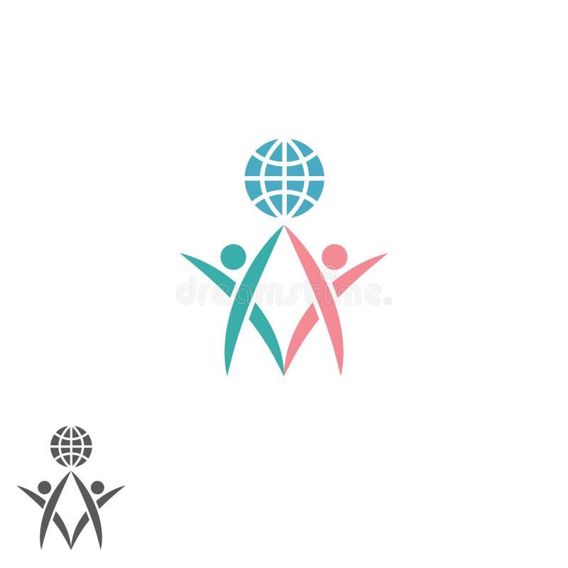 Partnership logo, atlas silhouette two men together hold globe, success teamwork emblem, global social community icon royalty free illustration