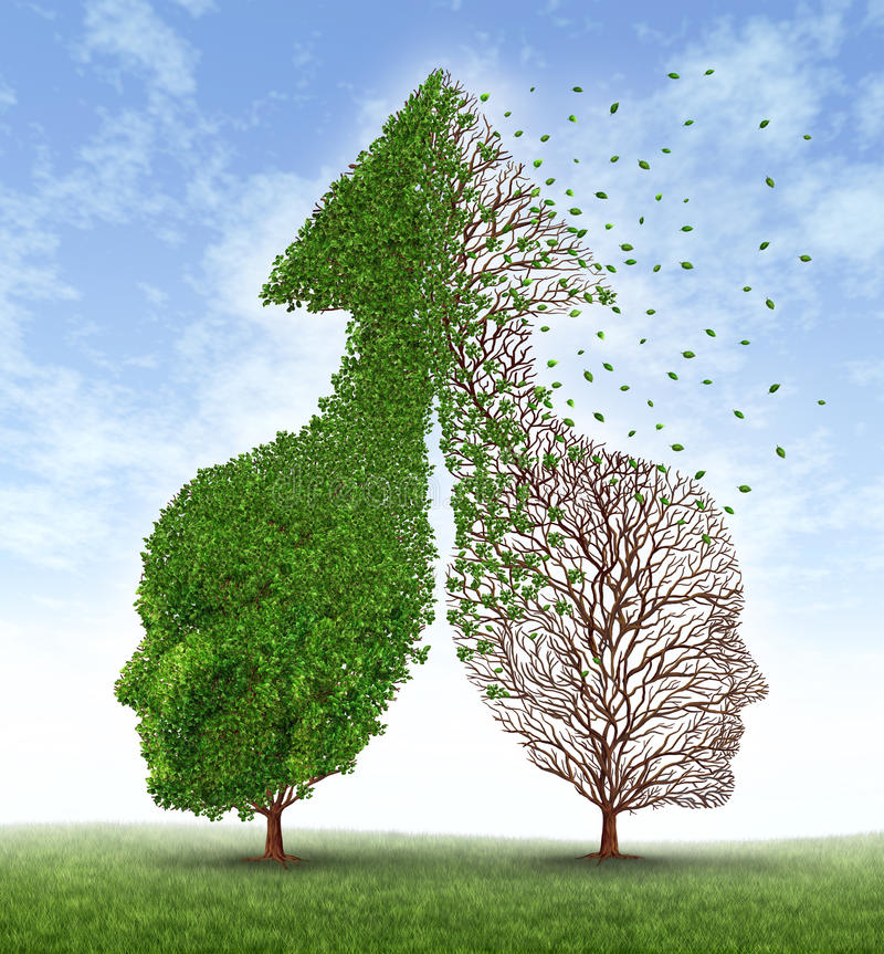 Partnership Problems. With two trees in the shape of human heads merged together into an up arrow and one of the trees losing the leaves as a concept of divorce vector illustration