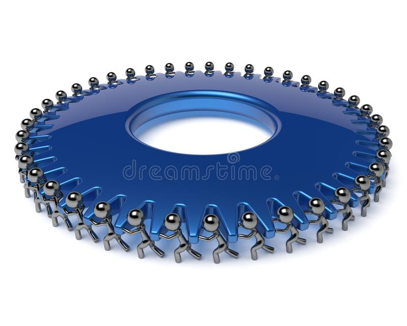 Partnership team work business men turning blue gear wheel. Partnership team work business process men turning blue gear wheel hard job together. Teamwork royalty free illustration