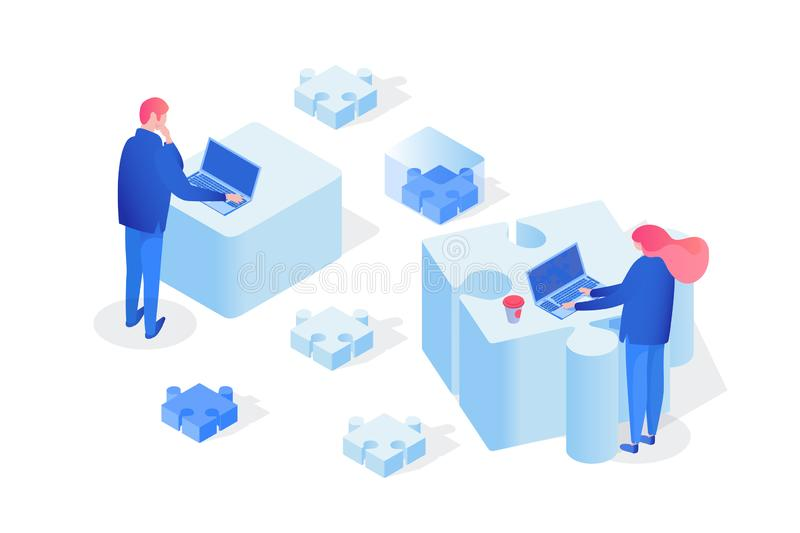 Partnership, team working 3D vector illustration royalty free illustration