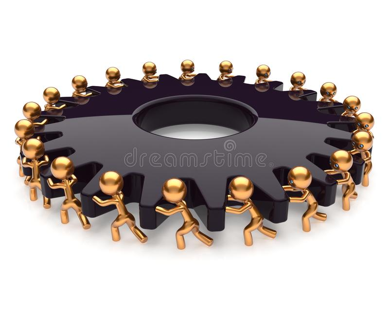 Partnership teamwork business process hard job black gear. Partnership teamwork business process team work hard job men turning black gear together. Manpower vector illustration