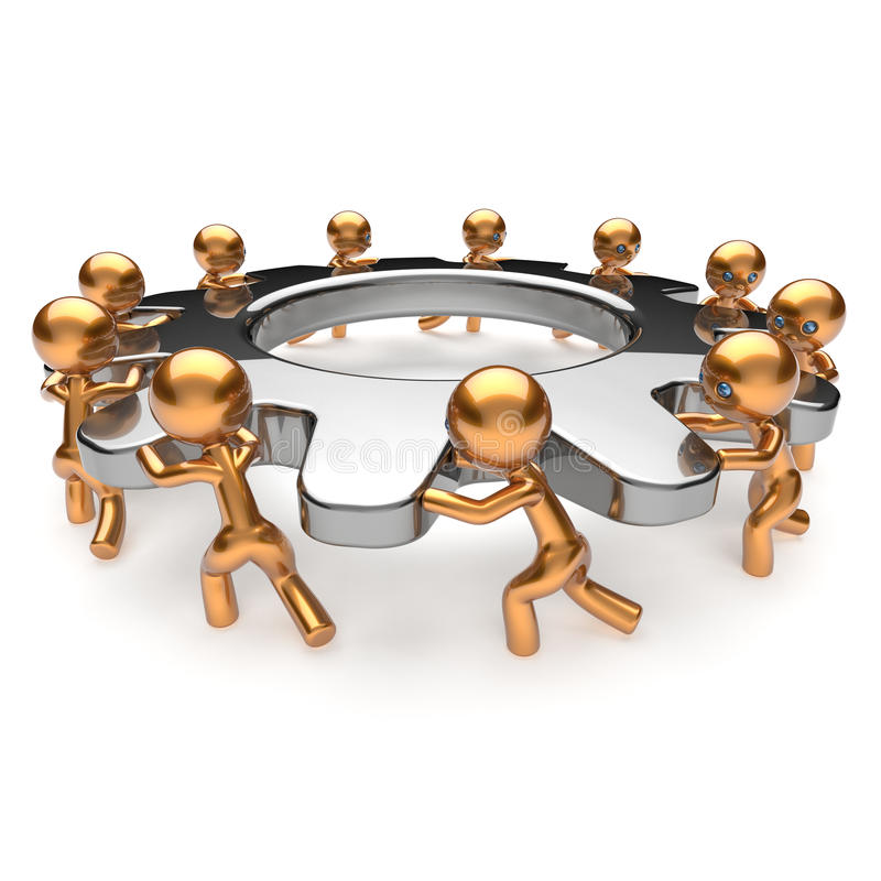 Partnership teamwork business process workers turning gear together. Team cooperation efficiency relationship community workforce concept. 3d render on white vector illustration