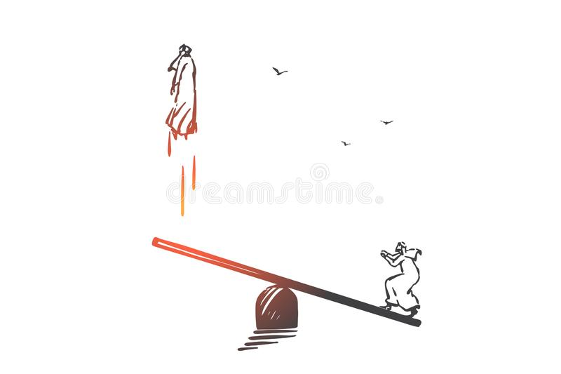 Partnership, teamwork, cooperation concept sketch. Hand drawn isolated vector. Partnership, teamwork, cooperation concept sketch. Muslim people balancing on vector illustration