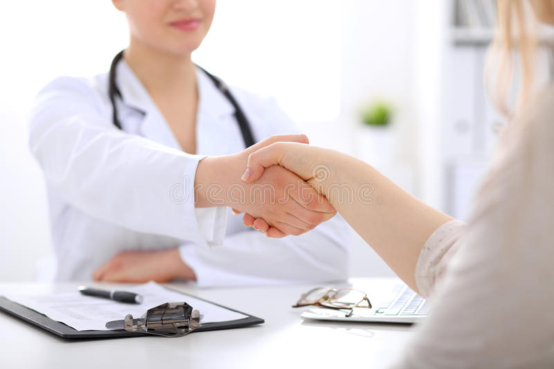 Partnership, trust and medical ethics concept. Medicine and health care stock photo