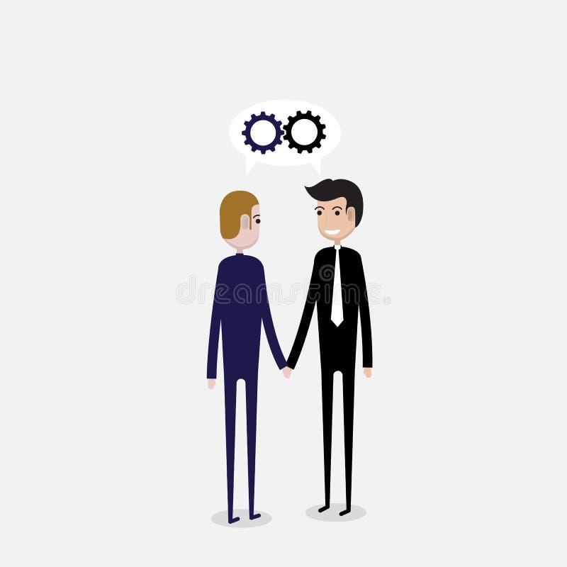 Partnerskap- eller samarbetsbegrepp Två affärspersoner och busin vektor illustrationer