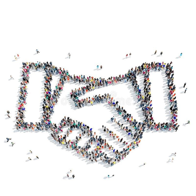 Partnerskap för folkformhandskakning royaltyfri illustrationer