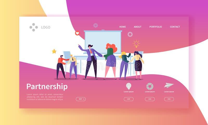 Partnerskap- och för samarbetslandningsida mall Handskakning för tecken för affärsfolk som komms till överenskommelse för webbsid stock illustrationer