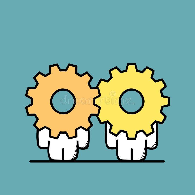 Partnerskap- och kugghjulhjul stock illustrationer