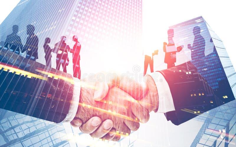 Partnerskap och teamworkbegrepp, skyskrapor arkivfoton