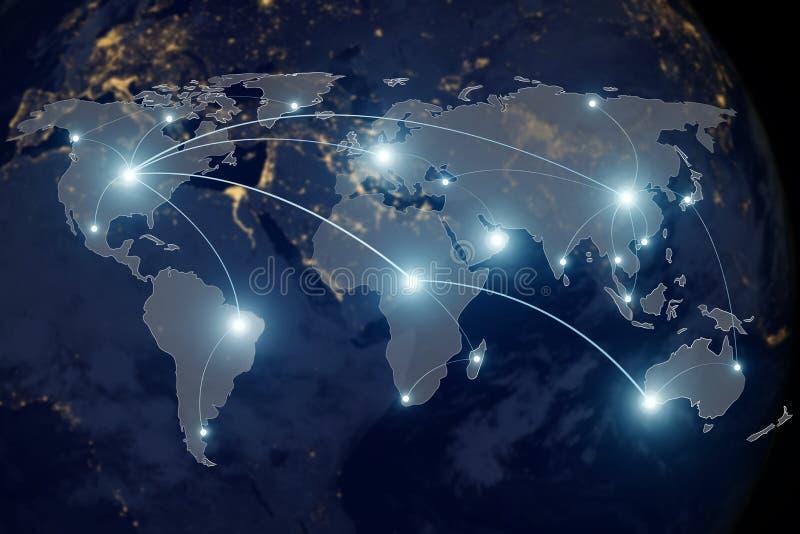 Partnerskap och världskarta för nätverksanslutning royaltyfri illustrationer