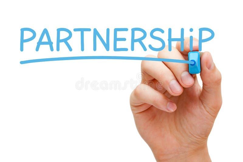 Partnerskap som är handskrivet med den blåa markören arkivfoton