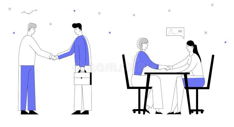 Partnerskapbegrepp med Businesspeople som möter och att skaka händer som gör överenskommelse under förhandling royaltyfri illustrationer