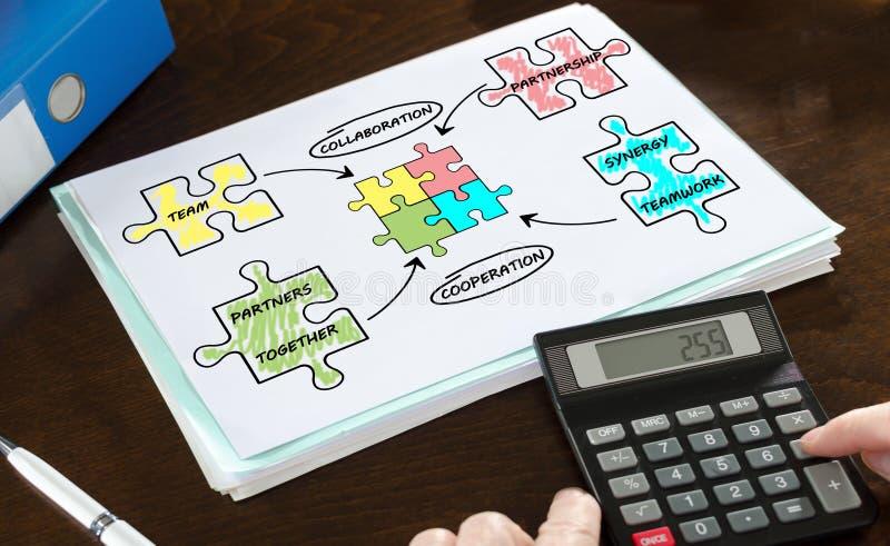 Partnerskapbegrepp som illustreras på ett papper arkivfoton