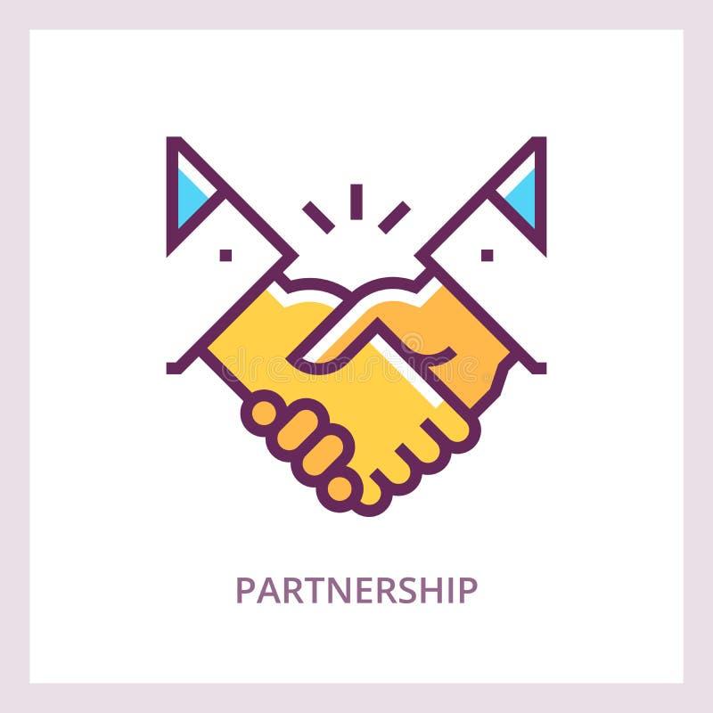 Partnerstwo ikona Uścisku dłoni pojęcie Wektorowy liniowy piktogram ilustracji