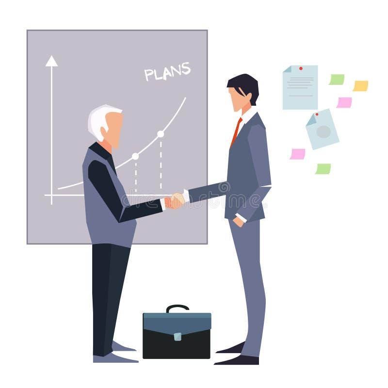 partnerstwo Ilustracja dwa kreskówka biznesmenów handshaking ilustracji