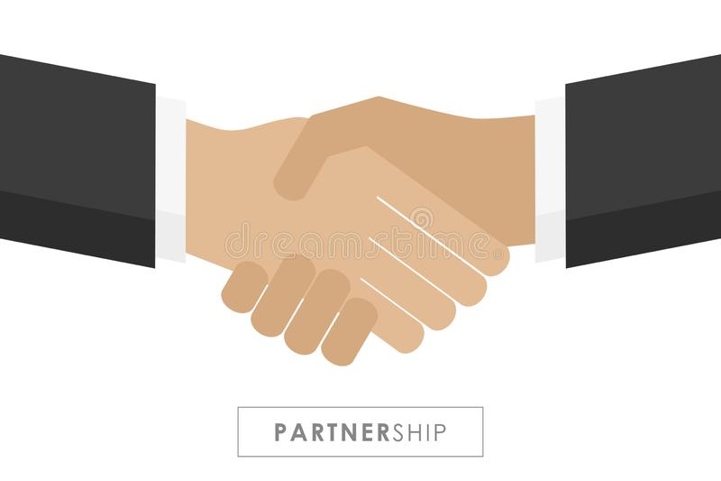 Partnerstwo mi?dzy dwa biznesmen?w u?ciskiem d?oni royalty ilustracja